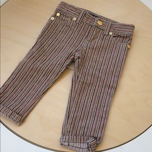 Peek dungarees rainbow striped jeans with gold